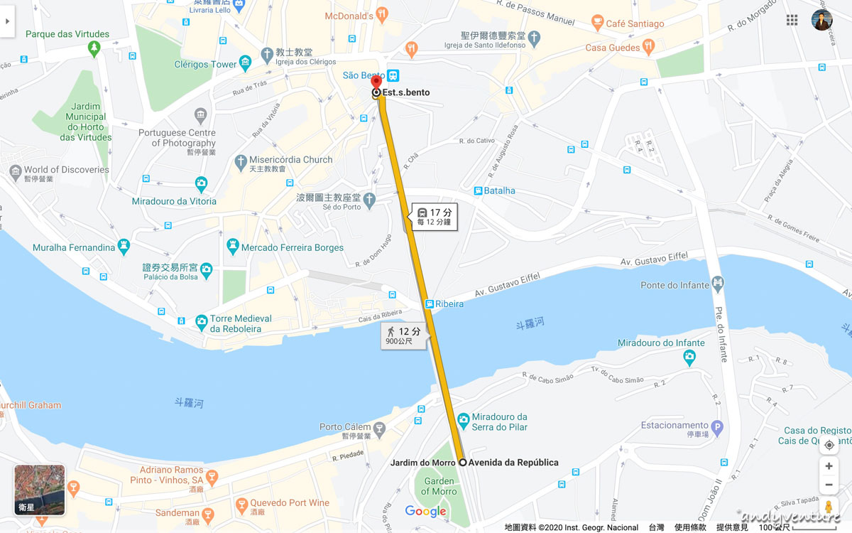 波多MRT-google map路線